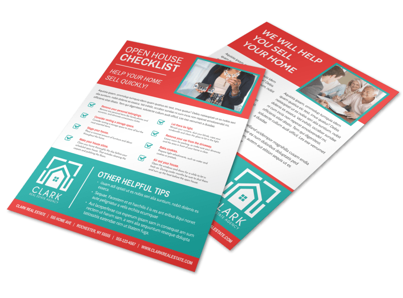 Red Open House Checklist Flyer Template Preview 1