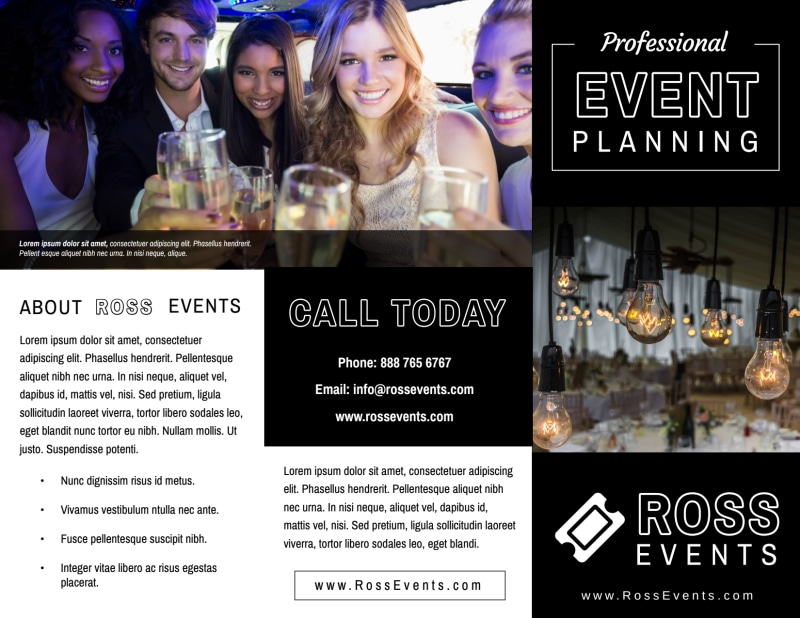 Event Planner Professional Tri-Fold Brochure Template Preview 2