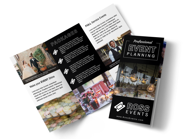 Event Planner Professional Tri-Fold Brochure Template Preview 1