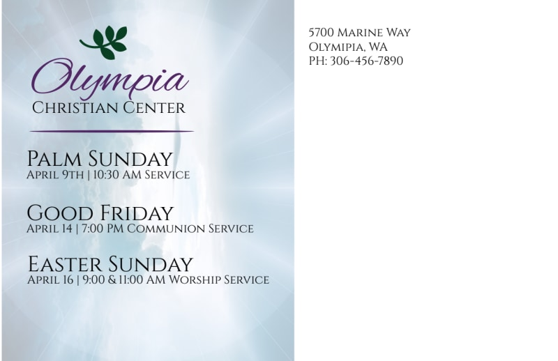 Easter Sunday Service Postcard Template Preview 3