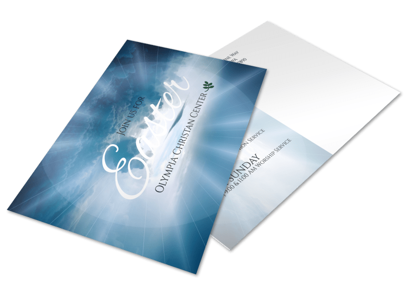 Easter Sunday Service Postcard Template Preview 1