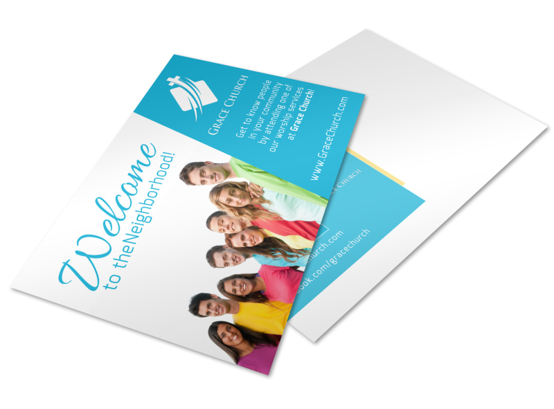 Church Welcome Postcard Template