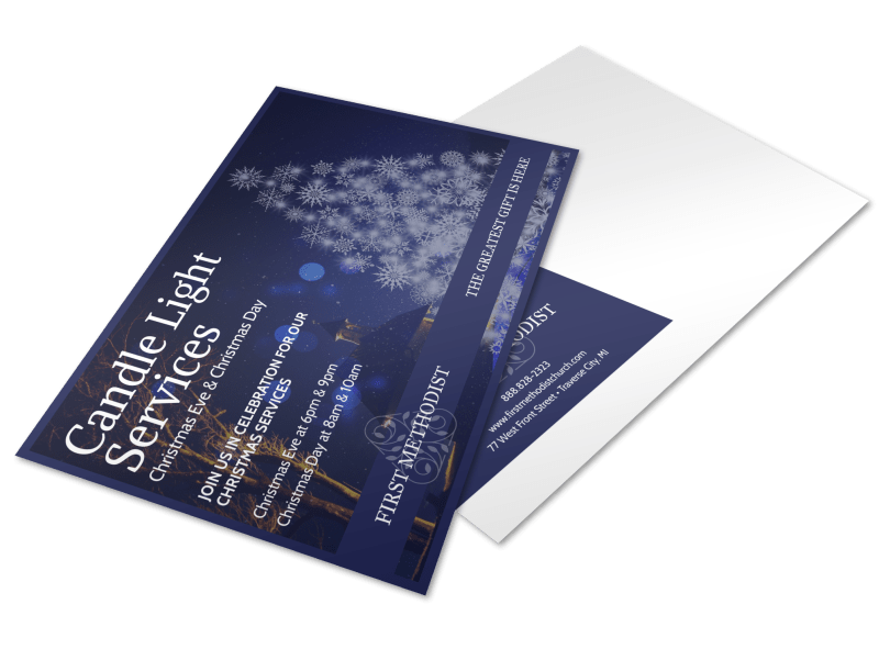 Church Candle Light Services Postcard Template Preview 1