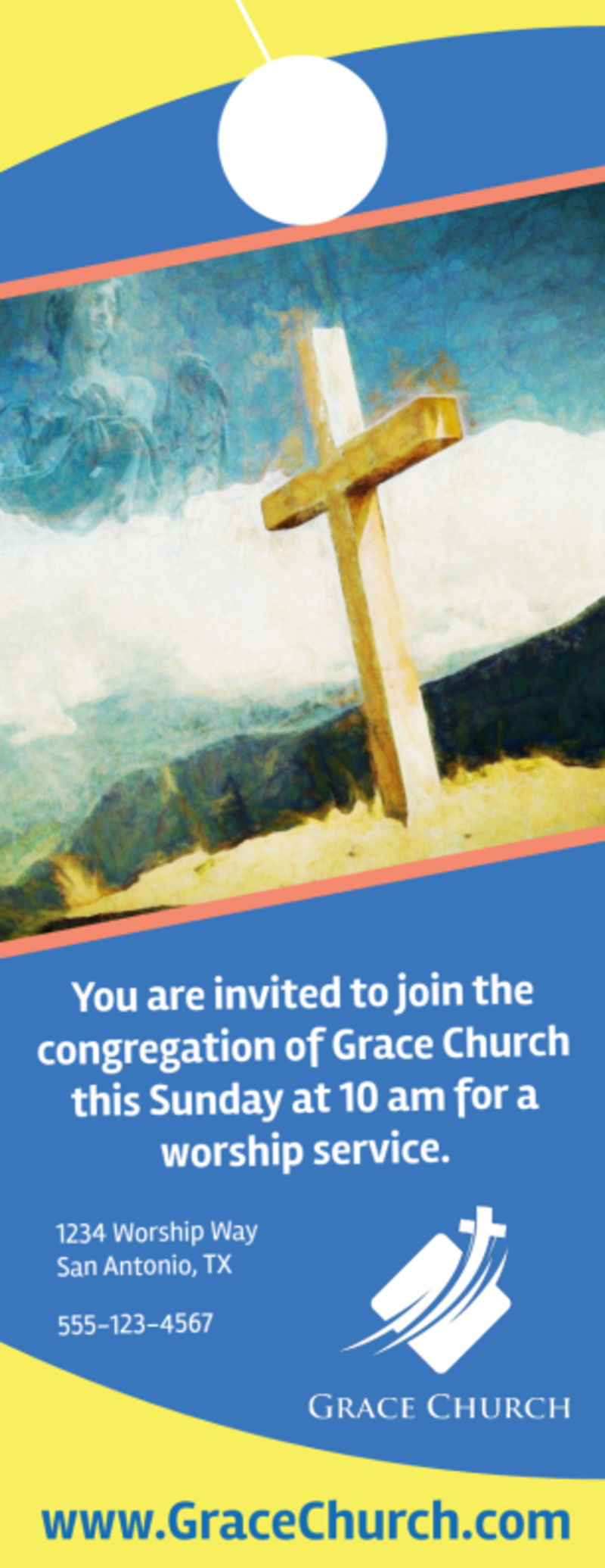 Blue Church Invitation Door Hanger Template Preview 2