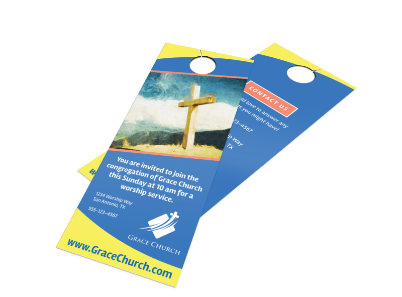 Blue Church Invitation Door Hanger Template Preview 1