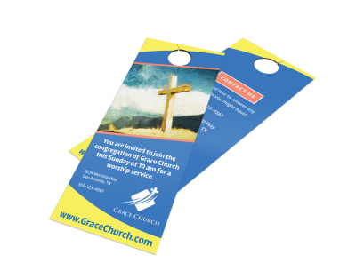 Blue Church Invitation Door Hanger Template preview