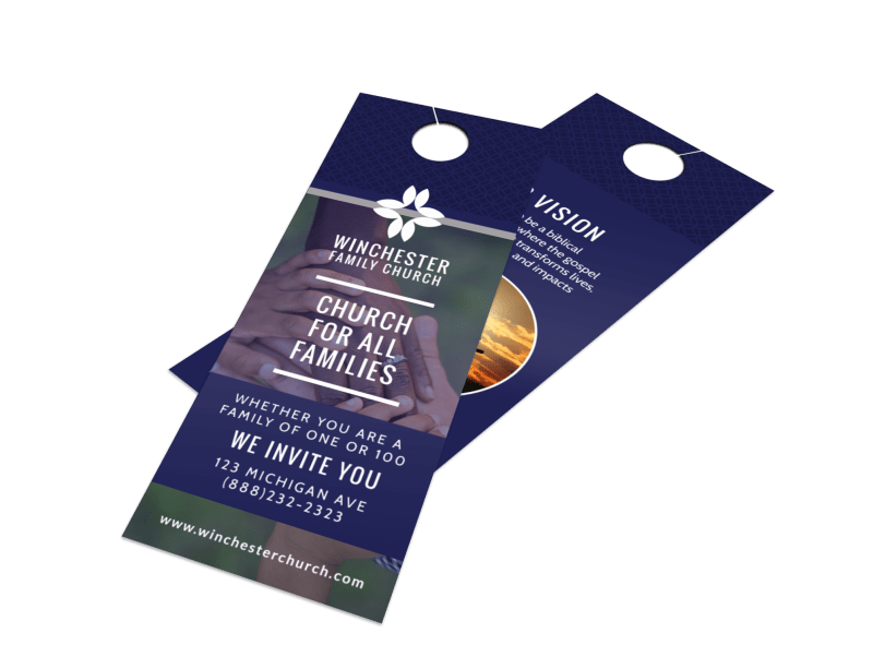 All Families Church Invitation Door Hanger Template Preview 1