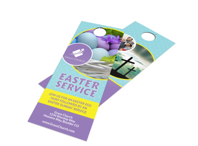 Easter Sunday Service Door Hanger Template preview