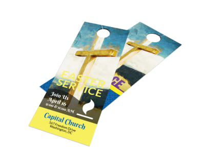 Easter Sunday Church Service Door Hanger Template preview