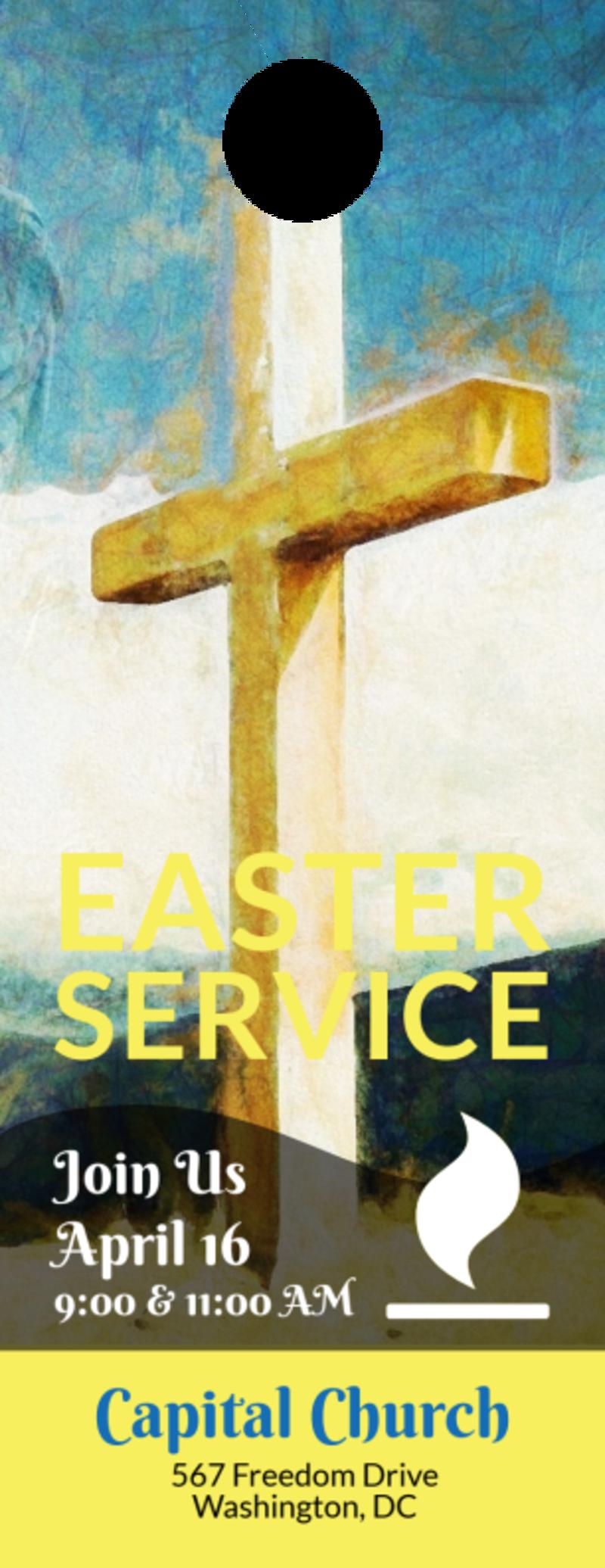 Easter Sunday Church Service Door Hanger Template Preview 2
