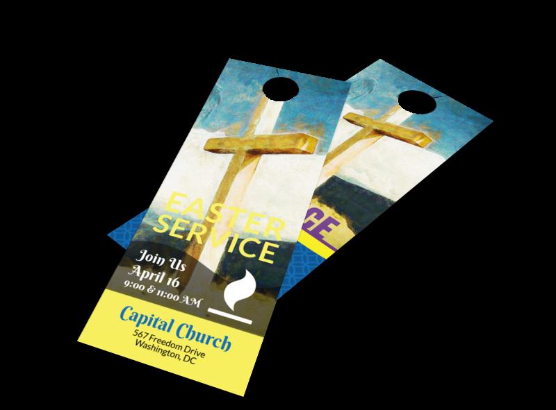 Easter Sunday Church Service Door Hanger Template Preview 1