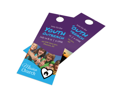 Church Youth Outreach Door Hanger Template preview