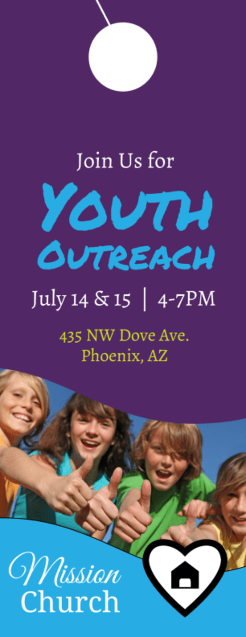 Church Youth Outreach Door Hanger Template Preview 2