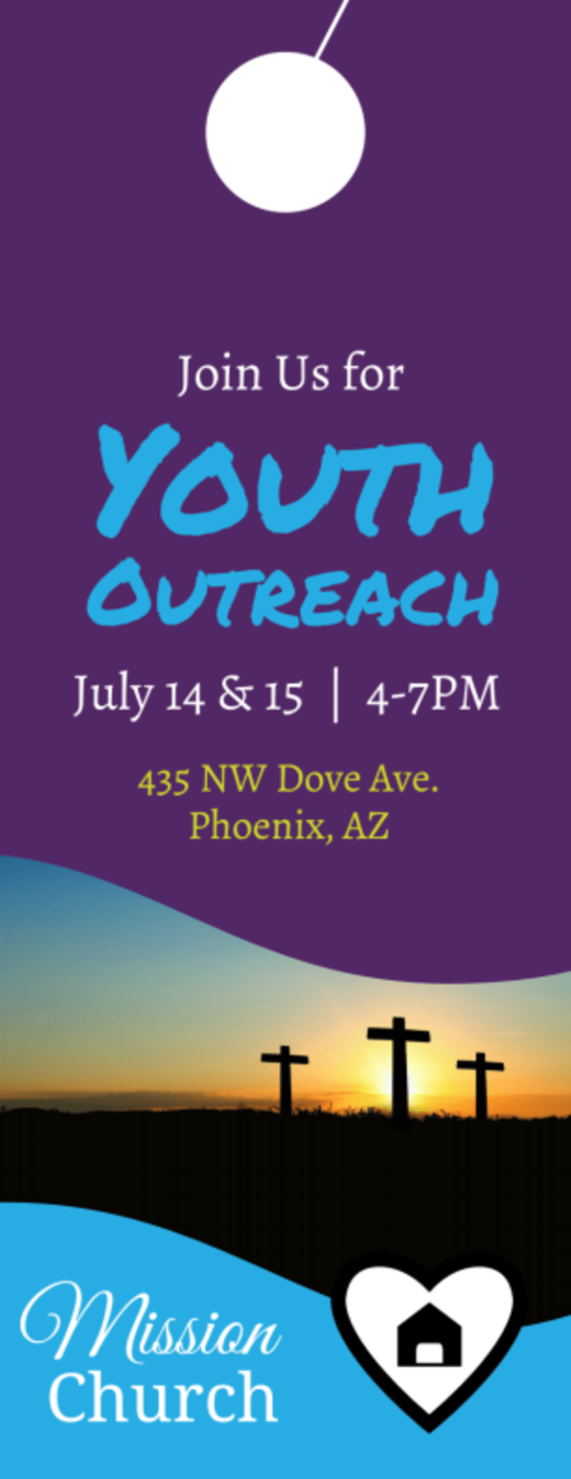 Church Youth Outreach Door Hanger Template Preview 3