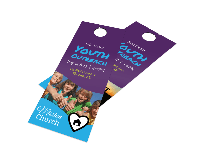 Church Youth Outreach Door Hanger Template Preview 1