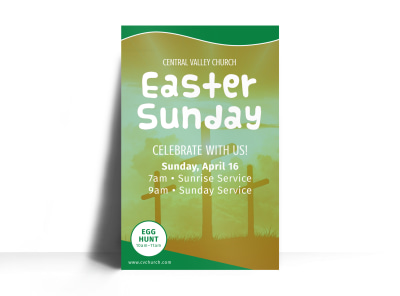Church Easter Sunday Poster Template preview