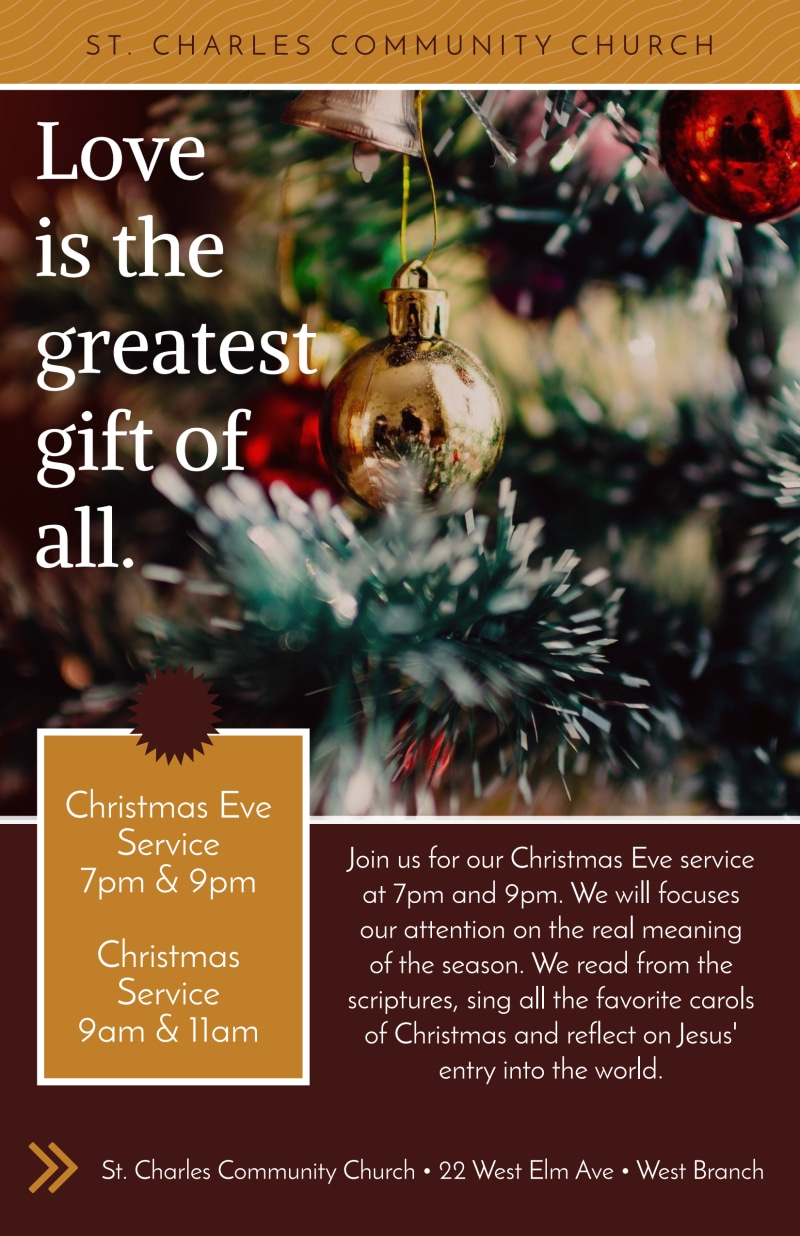 Christmas Eve Service Church Poster Template Preview 2
