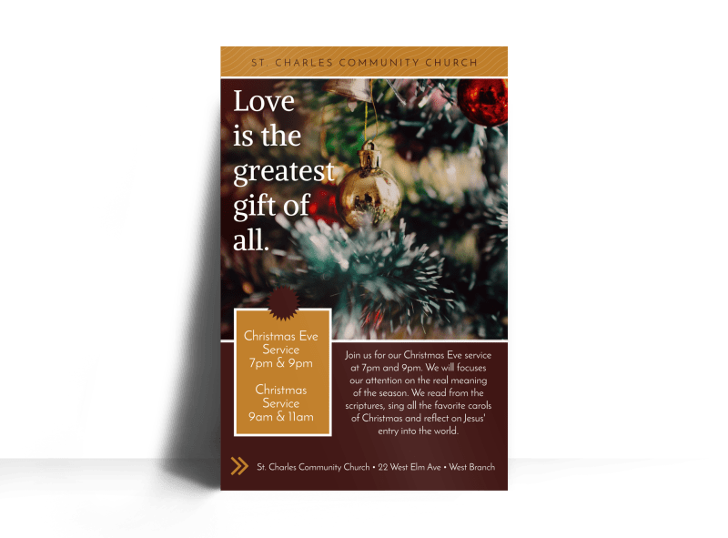 Christmas Eve Service Church Poster Template Preview 1