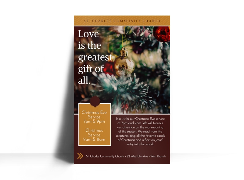 Christmas Eve Service Church Poster Template Preview 3