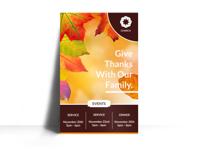 Thanksgiving Church Poster Template preview