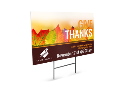 Thanksgiving Church Yard Sign Template preview