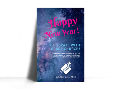 New Year Church Poster Template