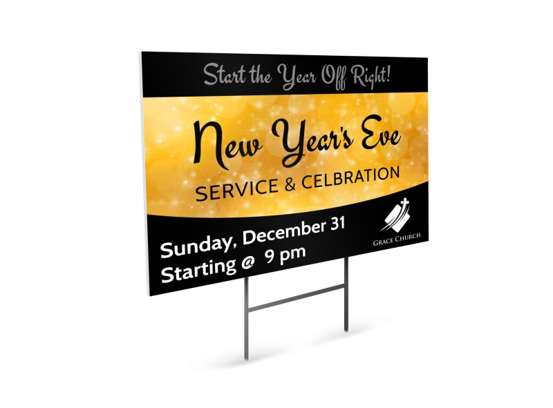 New Year\'s Church Yard Sign Template | MyCreativeShop