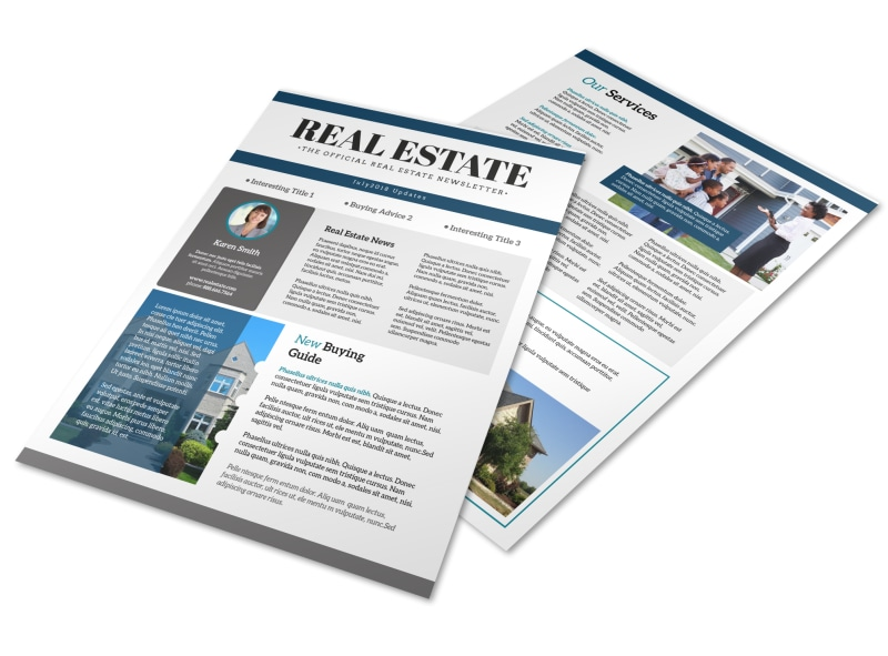 Simple Real Estate Newsletter Template | MyCreativeShop