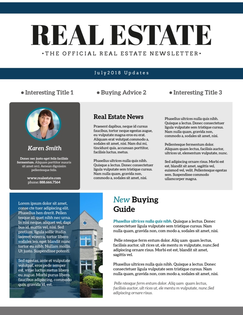 Simple Real Estate Newsletter Template Preview 2