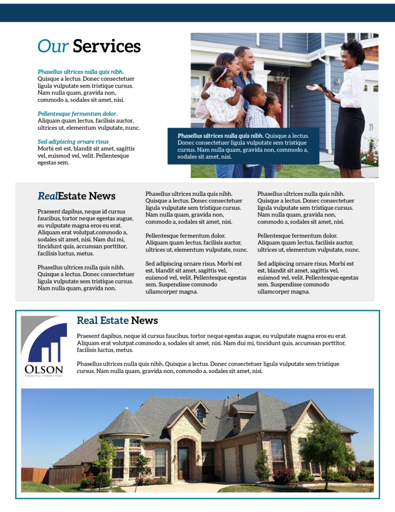 Simple Real Estate Newsletter Template Preview 3