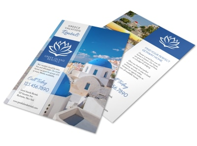 Greek Vacation Rental Flyer Template preview