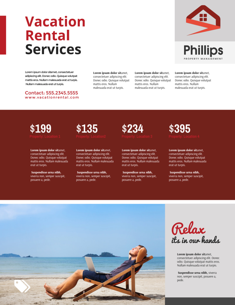 Red Travel Vacation Rental Flyer Template Preview 2