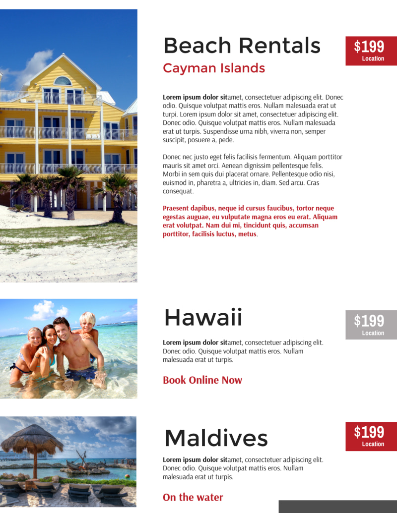 Red Travel Vacation Rental Flyer Template Preview 3