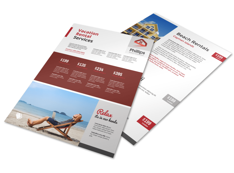 Red Travel Vacation Rental Flyer Template Preview 1