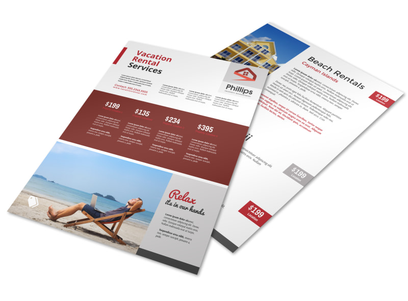 Red Travel Vacation Rental Flyer Template