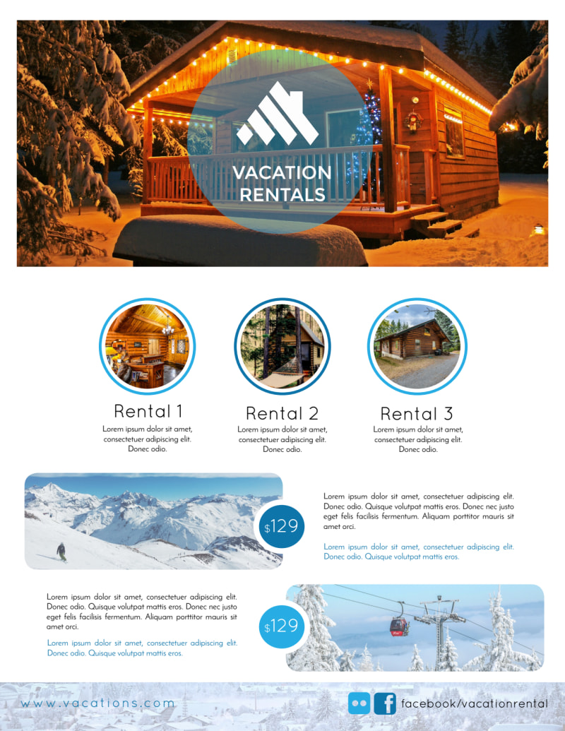 Mountain Travel Vacation Rental Flyer Template Preview 2