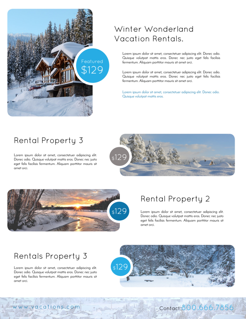 Mountain Travel Vacation Rental Flyer Template Preview 3