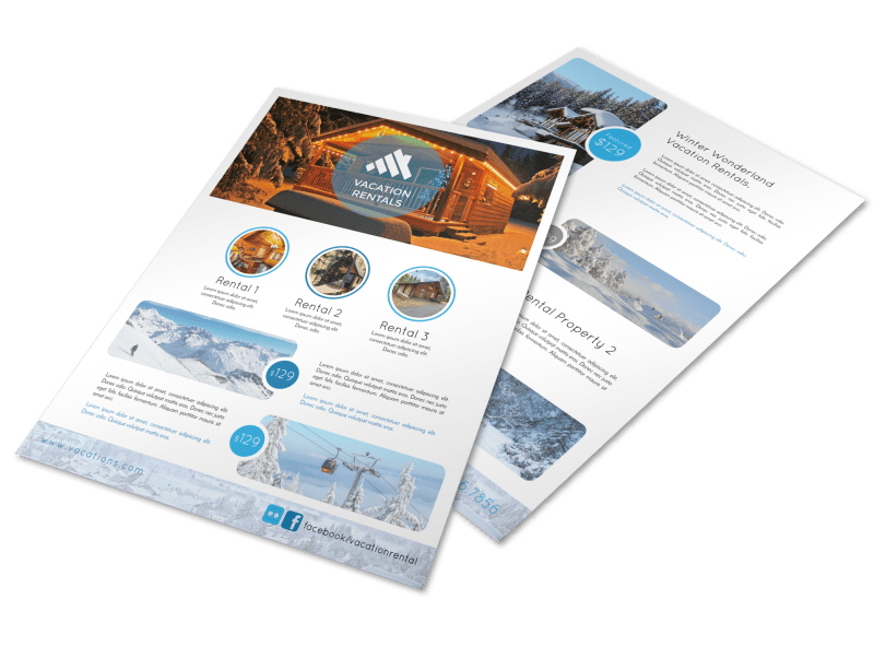 Mountain Travel Vacation Rental Flyer Template Preview 1