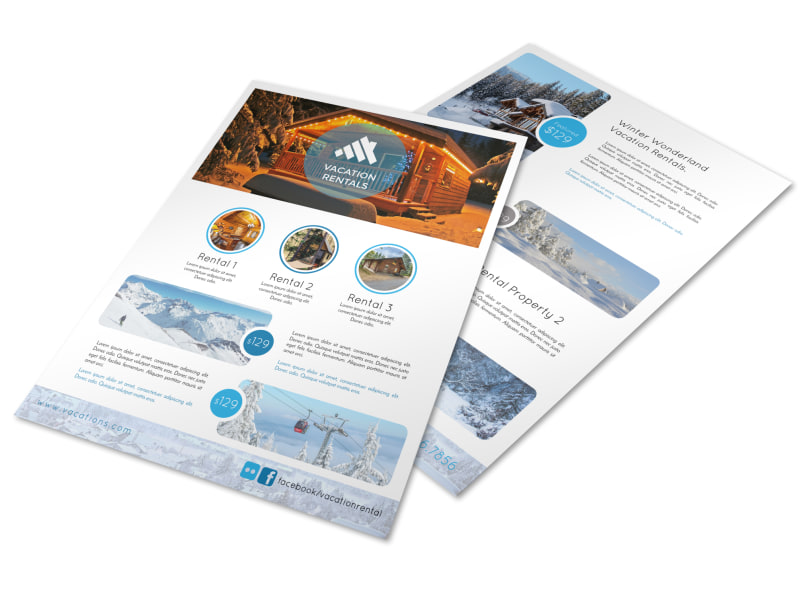 Mountain Travel Vacation Rental Flyer Template