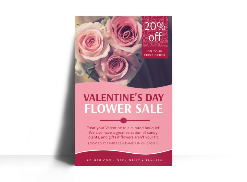 Valentine's Day Flower Poster Template