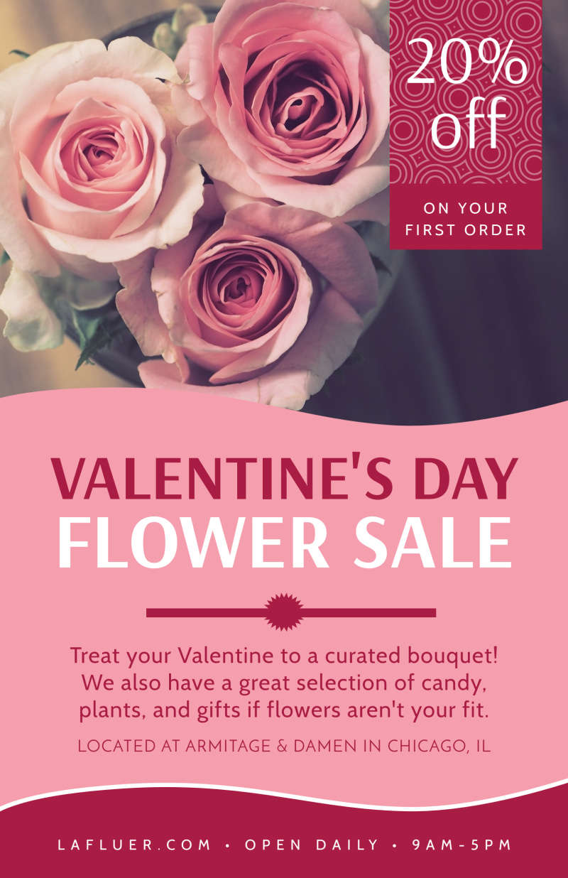 Valentine's Day Flower Poster Template Preview 2