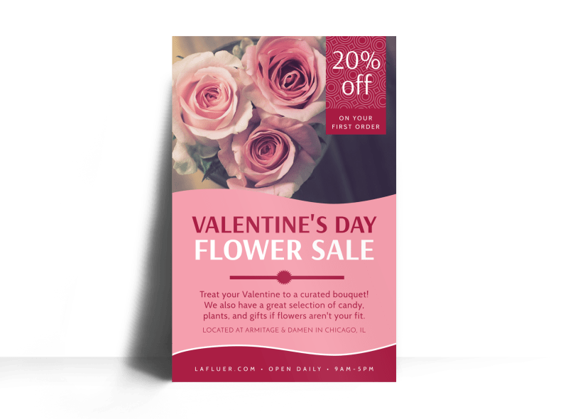 Valentine's Day Flower Poster Template Preview 1