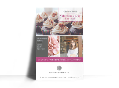 Valentine's Day Pastries Poster Template preview