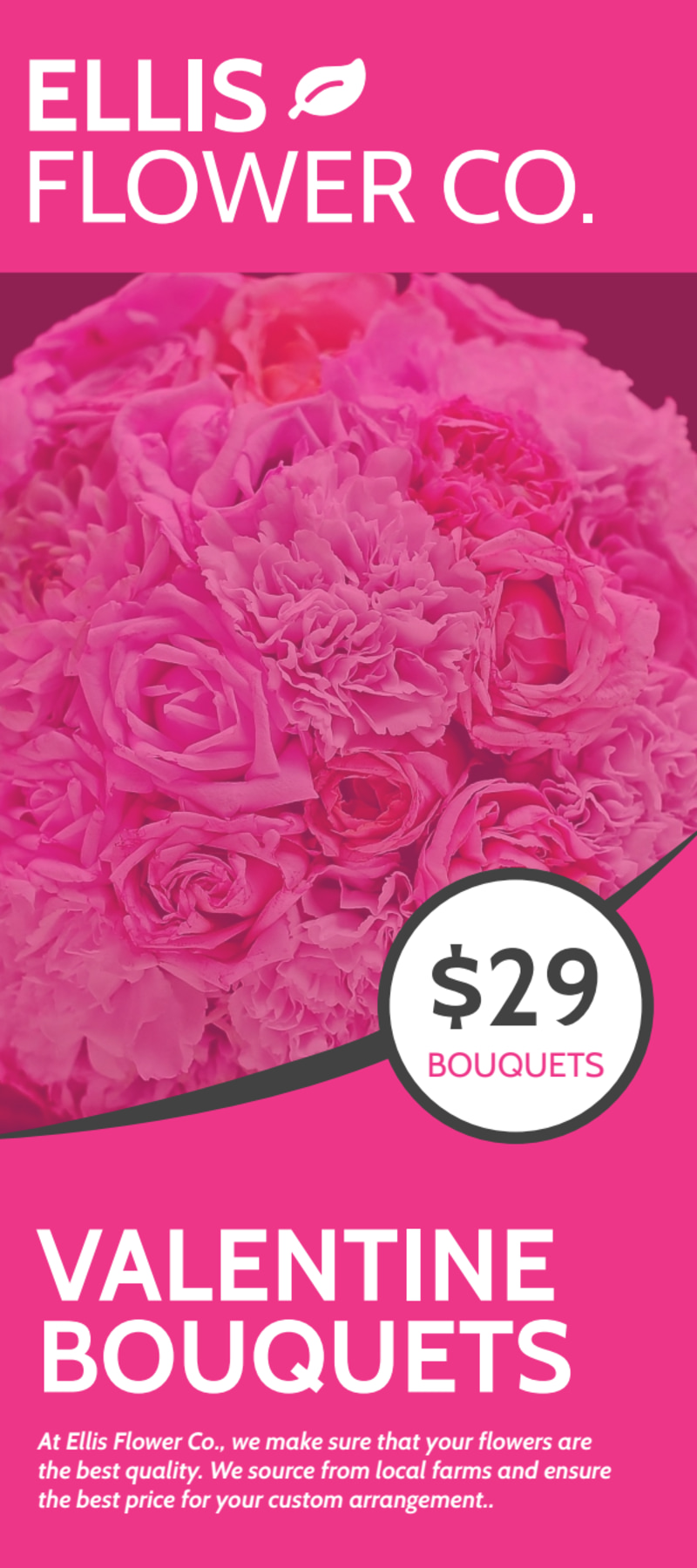 Valentine's Day Bouquet Flyer Template Preview 2