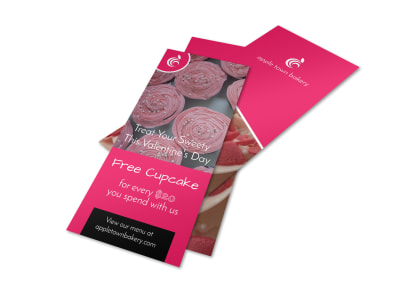 Valentine's Day Cupcake Flyer Template preview
