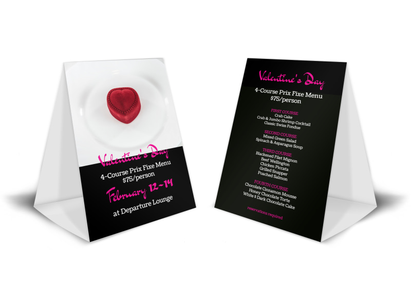 Valentines Day Dinner Table Tent Template