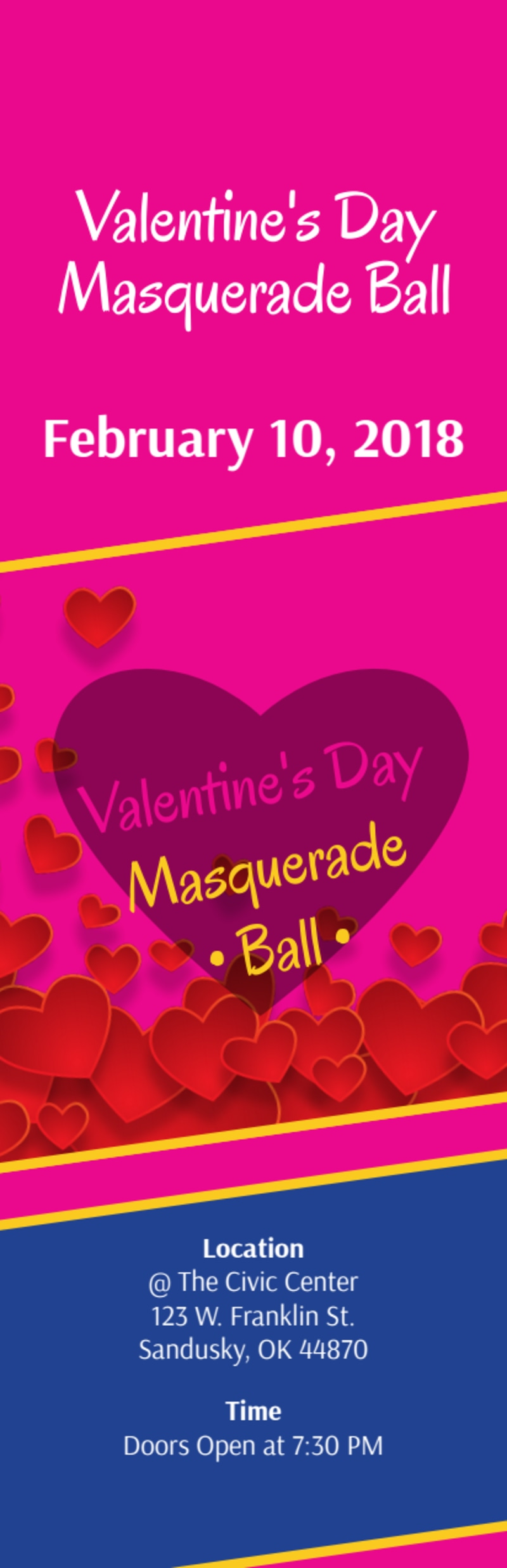 Valentine's Day Masquerade Ball Ticket Template Preview 2