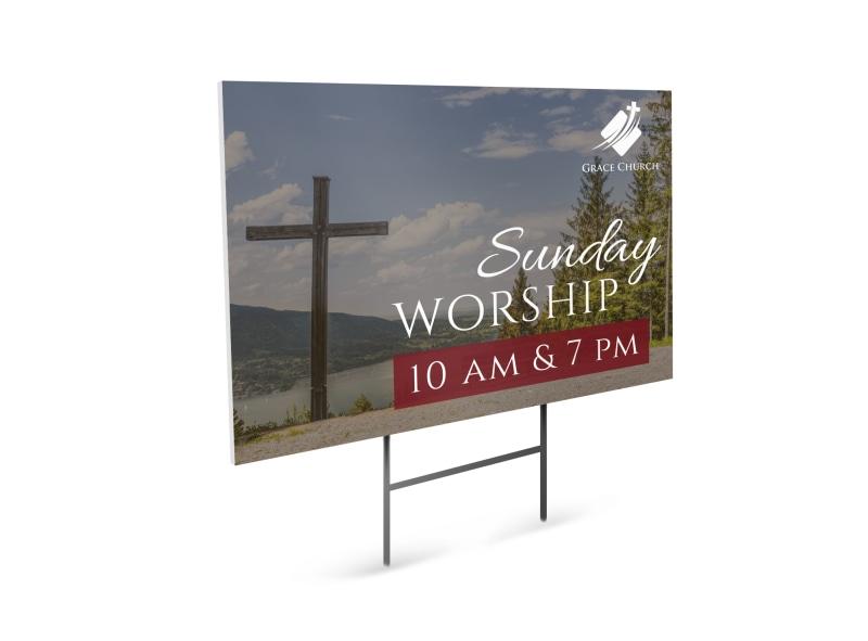 Sunday Worship Church Service Yard Sign Template