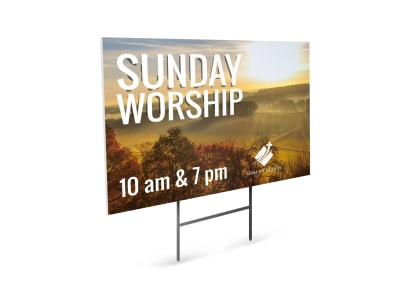Sunday Worship Church Yard Sign Template preview