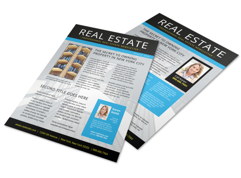 Blue Real Estate Newsletter Template | MyCreativeShop